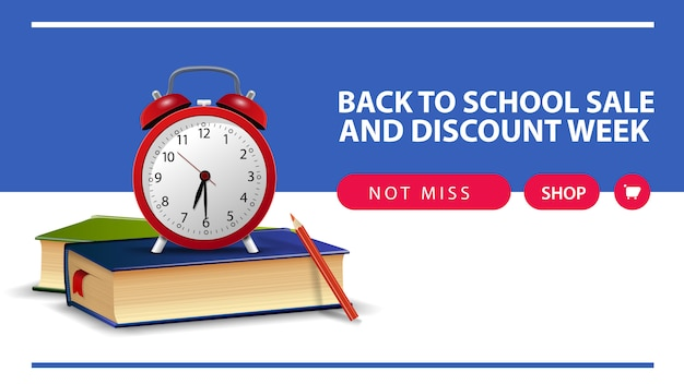 Back to school and discount week, horizontal discount web banner with school books and alarm clock