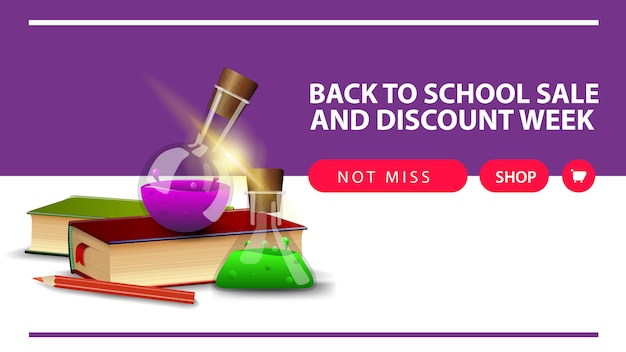 Back to school and discount week, horizontal discount web banner