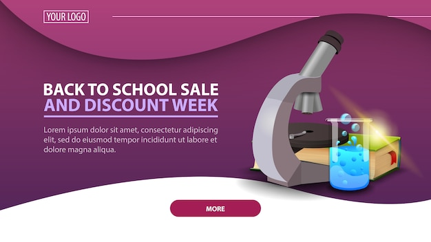 Back to school and discount week, modern discount web banner for the site with microscope