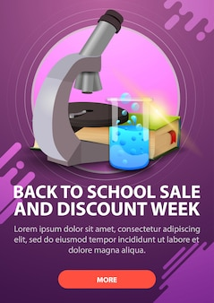 Back to school and discount week, vertical discount banner in dark shades for your website