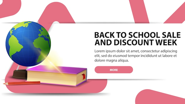 Back to school and discounts week, modern discount banner