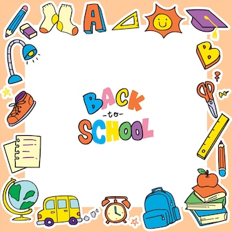 Back to school doodle background, clip art frame