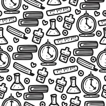 Back to school doodle cartoon seamless pattern