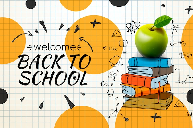 Back to school doodle on checkered paper background,.