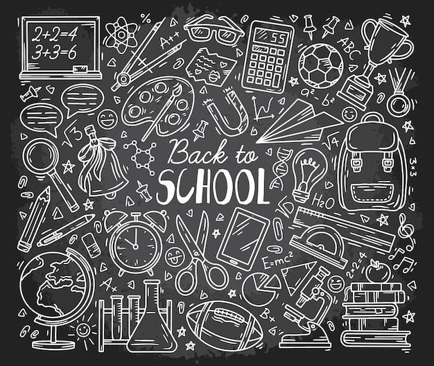 Back to school doodle icons set on the chalkboard