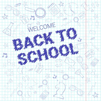 Back to school doodle label hand drawn on squared notebook paper background