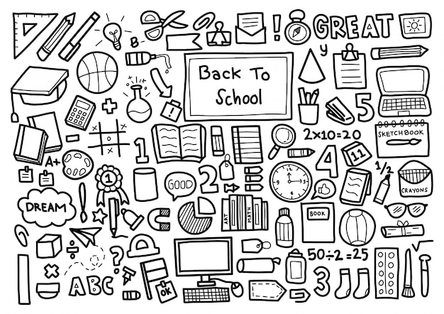 Back to school doodle ornament background pattern