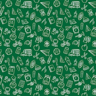 Back to school doodle seamless pattern background