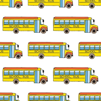 Back to school doodle seamless pattern. colorful cartoon school bus. design element for wallpapers, web site background, wrapping paper, sale flyer, scrapbooking etc. vector illustration