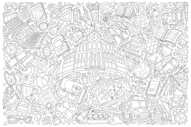 Back to school doodle set  illustration background