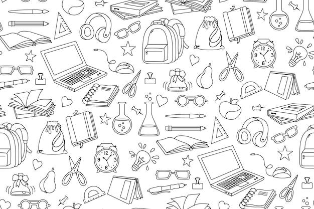 Back to school doodle sketch cartoon seamless pattern