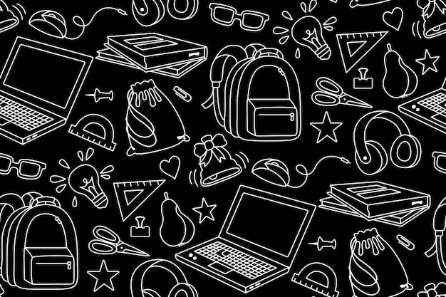 Back to school doodle white sketch seamless pattern learning school line textile first day of school equipment education concept scissors laptop glasses book backpack paints black background