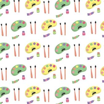 Back to school doodles art seamless pattern