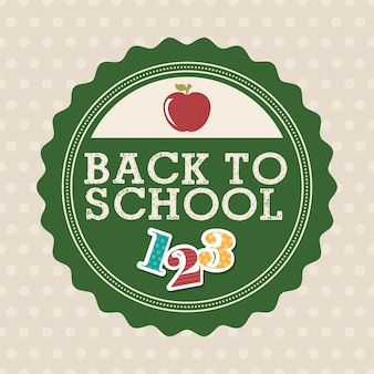 Back to school over dotted background vector illustration