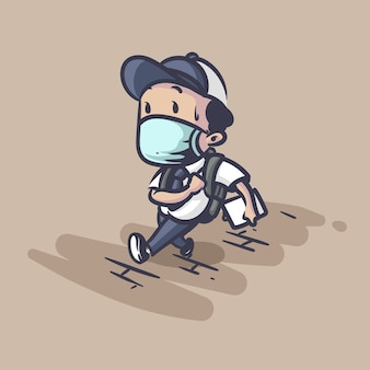 Back to school during pandemic illustration