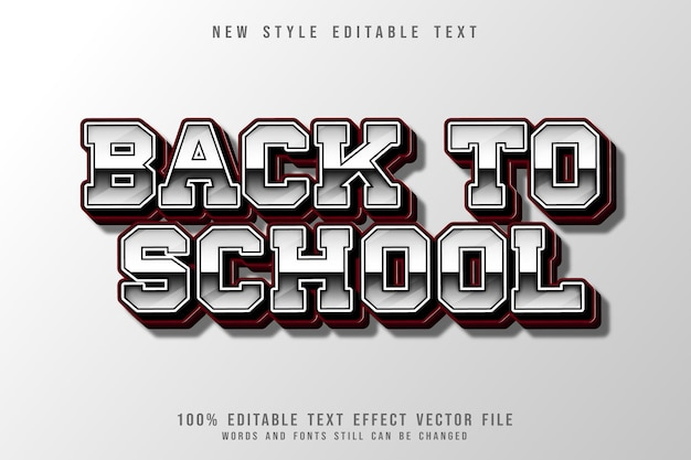 Back to school editable text effect 3 dimension emboss gradient style