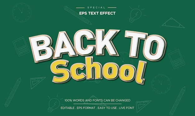 Back to school editable text effect for cartoon comic game title style template