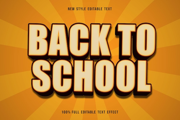 Back to school editable text effect cartoon style brown