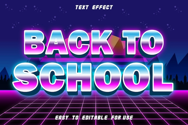 Back to school editable text effect emboss retro style