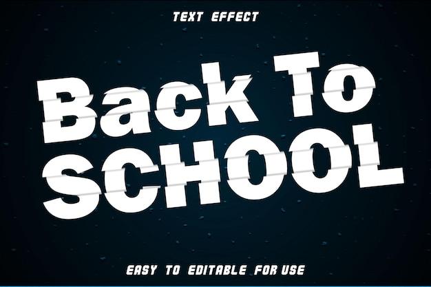 Back to school editable text effect emboss slice style