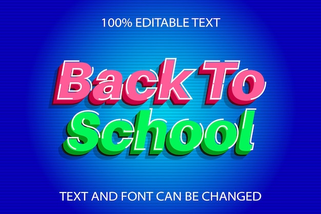 Back to school editable text effect modern style