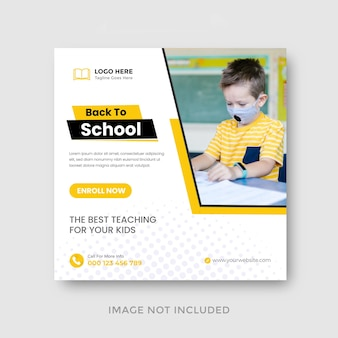 Back to school education admission or educational social media post design