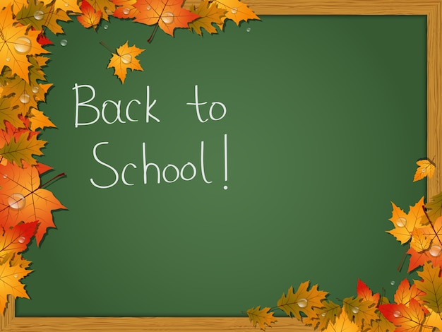 Back to school, education autumn style vector background