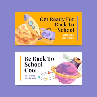 Back to school and education banner template