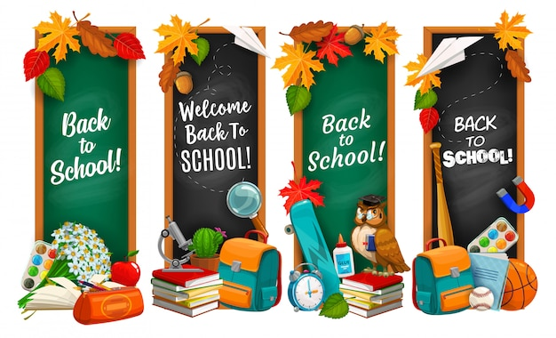 Back to school education banners with chalkboards