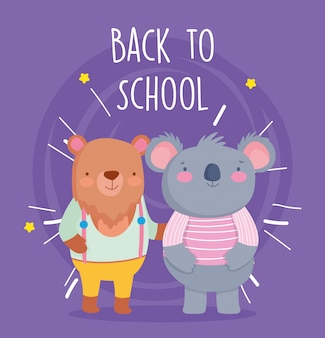 Back to school education bear and koala students