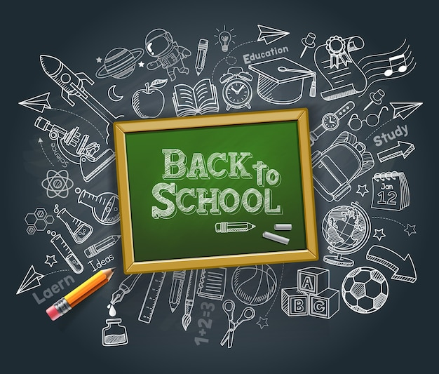 Back to school education concept doodle style illustration