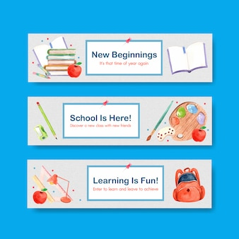 Back to school and education concept with banner template