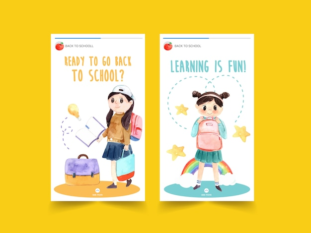 Back to school and education concept with instagram story template