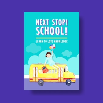 Back to school and education concept with poster template for brochure and advertising watercolor
