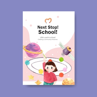 Back to school and education concept with poster template.