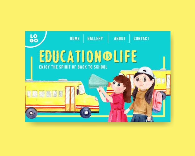 Back to school and education concept with website template