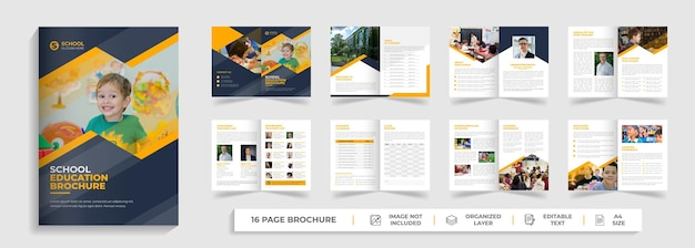 Back to school education creative modern bifold brochure template