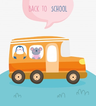Back to school education cute penguin and koala in bus