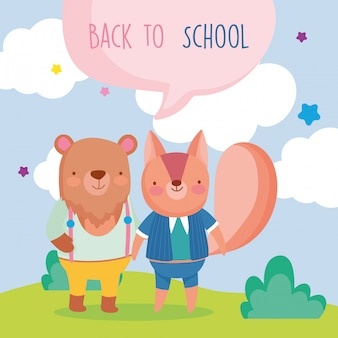 Back to school education cute squirrel and bear outdoor cartoon