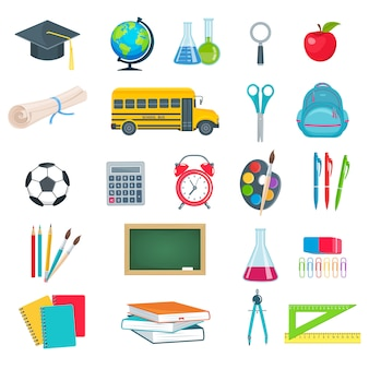 Back to school education icons set