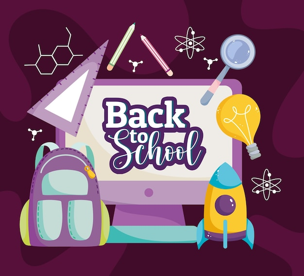 Back to school education online class backpack creativity  illustration