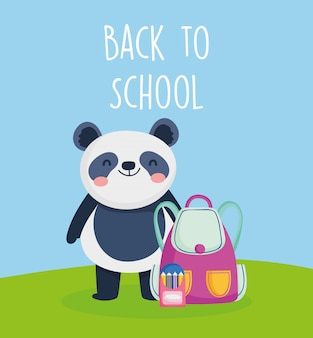 Back to school education panda with bag and pencils