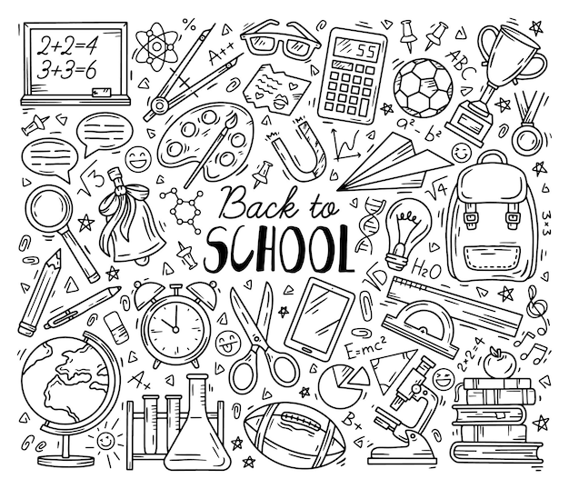 Back to school education set of doodle icons