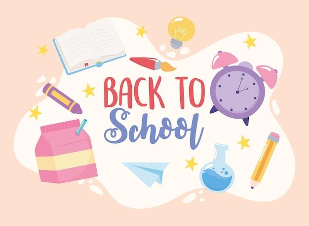 Back to school, educational pencil book crayon brush chemistry flask, elementary cartoon