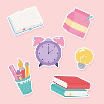 Back to school, elementary education cartoon supply clock books brush pencil