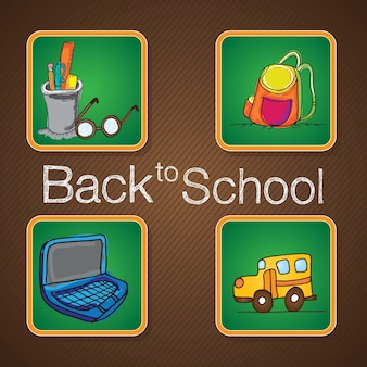 Back to school elements on chalkboards vector illustration