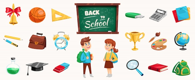 Back to school elements and children