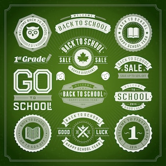 Back to school elements sale labels and badges set