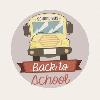 Back to school emblem over vintage background