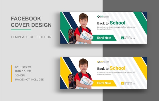 Back to school facebook cover template education banner for social network